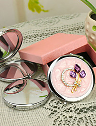 Personalized Gift Floral Style Pink Chrome Compact Mirror with Rhinestone