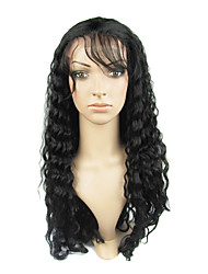 20inch Brazilian Virgin Hair Full Lace Wig Beautiful Deep Wave Natural Black Can Be Dyeable
