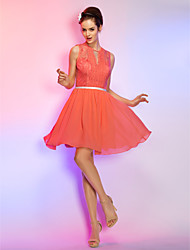 Cocktail Party / Homecoming / Holiday Dress - Watermelon Plus Sizes / Petite A-line Jewel Short/Mini Chiffon / Lace