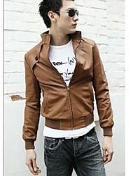 Men's Long Sleeve Sport Jacket,PU Solid Black / Brown