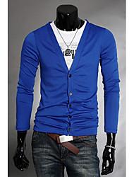 v tiefe V-Ausschnitt Kurzarm Schlankheits-Baumwolle Strickwaren (royal blau)