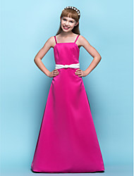 LAN TING BRIDE Floor-length Satin Junior Bridesmaid Dress A-line Spaghetti Straps Natural with Ruching