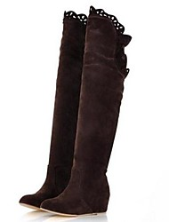 Suede Women's Wedge Heel Over the Knee Boots with Ruffles(More Colors)