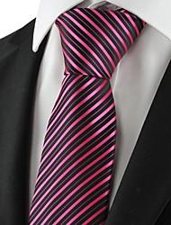 New strisce rosa dorato nero Mens Tie Cravatta Partito per Wedding Souvenir