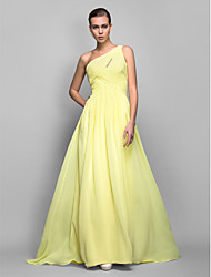 Formal Evening/Prom/Military Ball Dress - Daffodil Plus Sizes Sheath/Column One Shoulder Sweep/Brush Train Georgette
