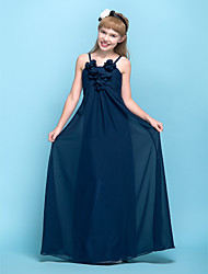 Floor-length Chiffon Junior Bridesmaid Dress Sheath / Column Spaghetti Straps Empire with Flower(s) / Ruching