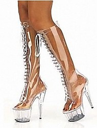 Plastic Women's Stiletto Heel Platform Knee High Boots Shoes