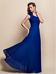 A-line One Shoulder Floor-length Chiffon Evening Dress (906604)