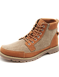 Leather/Canvas Men's Flat Heel Comfort Ankel Combat Boots With Lace-up(More Colors)