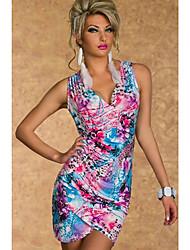 Vintage V-Neck Printing Vestido das mulheres