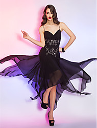 Formal Evening / Military Ball Dress - Black Plus Sizes / Petite A-line Spaghetti Straps Asymmetrical Chiffon