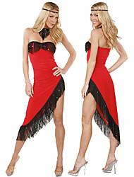 Sexy Dancer Strapless Asymmetrical Tassels Red Dress Tango Dance Costume