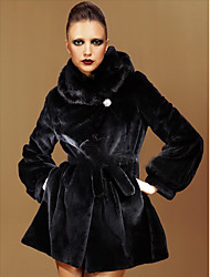 Long Sleeve Hooded Mink Fur And Rex Rabbit Fur Party/Casual Coat