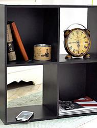 Modern 4 Girds Black Wooden Storage Cabinet