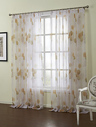 Country Two Panels Floral  Botanical Orange Bedroom Sheer Curtains Shades