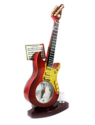 """8.66""""H Red guitar Shape Alarm Clock with Light"""