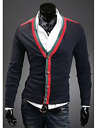 v der klassischen V-Ausschnitt Strickjacke Spleißen Farbe (schwarz)