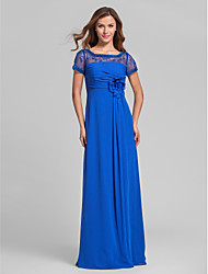 Lanting Bride® Floor-length Chiffon Bridesmaid Dress - A-line Square Plus Size / Petite with Beading / Flower(s) / Lace / Ruching