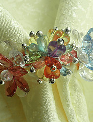 Colorful Flower Wedding Napkin Ring Set of 6, Crystal Beads Dia 4.5cm