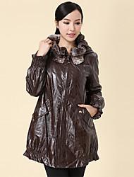 parte superior de cuero de los towm de las mujeres espesar abrigo