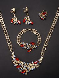 Fashion dell'oro della lega (Necklace & Bracelet & Earrings & Ring) Jewelry Set (rosso, verde, viola e altro)