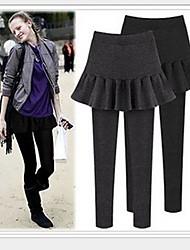 Women's Casual Pants , Cotton/Fleece Micro-elastic Black/Gray