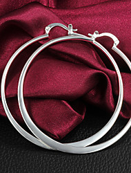 Women's Hoop Earrings Costume Jewelry Brass Silver Plated Circle Jewelry For