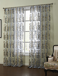 (Two Panels)Modern Fancy Classic Floral Sheer Curtain