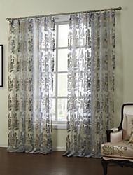 dos paneles floral moderna botánicos cortinas cortinas transparentes dormitorio azul