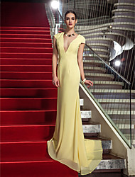 Formal Evening/Military Ball Dress - Daffodil Plus Sizes Sheath/Column V-neck Sweep/Brush Train Chiffon