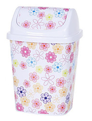 Creative European Style White Pink Flower Lidded Bin