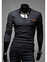 de v almohadilla camisa de polo del diseño del hombro personal (gris)