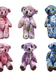 8cm Colorful Cotton Print Plush Joint Bear(Assorted Colors)