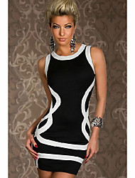 Moonosa Black Club Dress With White Curves Front And Zip Closure Back