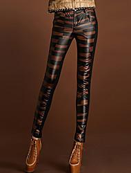 Aixiangzuo moda Graceful Empalme adelgazar pantalones (Negro y Caqui)