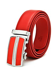 Men's Automatic Buckle Red Genuine Leather Belt