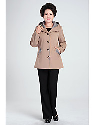 Women's Coat,Solid Long Sleeve Winter Polyester / Nylon Medium