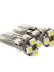 T10 5W 8x3528SMD 350LM 6000K  Ampoule LED lumière blanche froide pour la voiture (9-14V, 2 pcs)