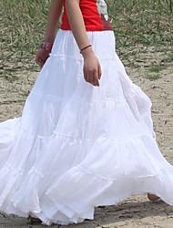 Gypsy Bohemia elegantes grandes Hem Cotton España plisado de baile Blanco largas faldas maxis de la Mujer
