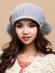 Xiaerbeiluo Strick Fox Haar Bulb Hat (Gray)