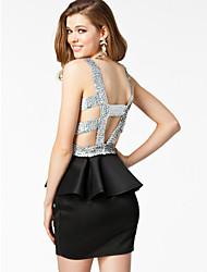 ML Plus Size 2014 nouvelles femmes de mode sexy robe noire pailletée Retour Peplum moulante Club Party Dress 9062
