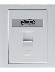 AMP RJ45 Computer Network Socket Wall Plate (White, 86 x 86mm)