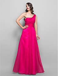 Formal Evening / Prom / Military Ball Dress - Fuchsia Plus Sizes / Petite A-line One Shoulder Floor-length Chiffon / Charmeuse