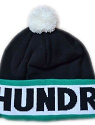 Pompom Beanie avec la rayure Knited Cap Keep Warm acrylique souple Tuque Bonnet à pompon Taille unique Noir avec des centaines verts