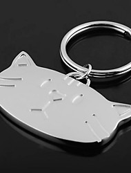 Personalized Engraved Gift Cat Head Shaped Keychain