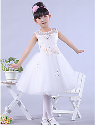 A-line Bateau Knee-length Satin And Lace Flower Girl Dress