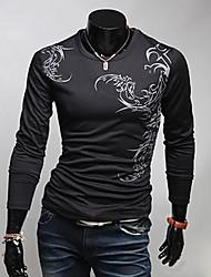 A & W Herren Schwarz Chinese Style Sport Typ Floral Print Langarm Rundhals-T-Shirt