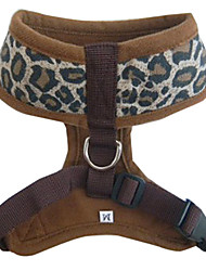 Dog Harness Adjustable/Retractable Leopard Brown Nylon