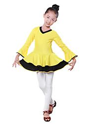 Dancewear Japanese Cotton Color Block V Neck Ballroom Dance Dress For Kids(More Colors)