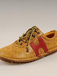 Simul première couche de la mode en cuir Souliers (jaune)